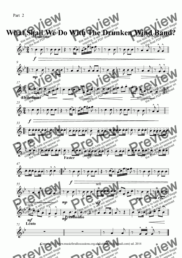 page one of the Part  2 part from What Shall We Do With The Drunken Band? (Flexible School Wind  Band  Series)