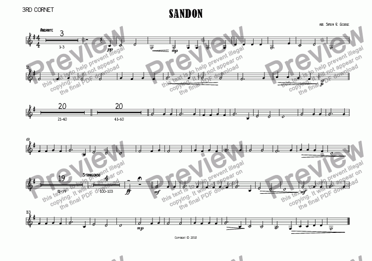 page one of the 3rd Cornet part from Sandon Hymn Tune Brass Band