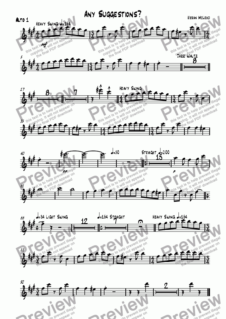 page one of the Alto 1 part from Any Suggestions?