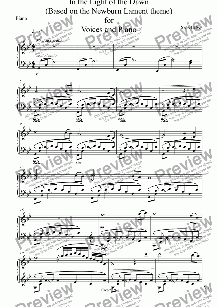 page one of the Piano part from In the Light of the Dawn (Based on the Newburn Lament theme) for Voices and Piano