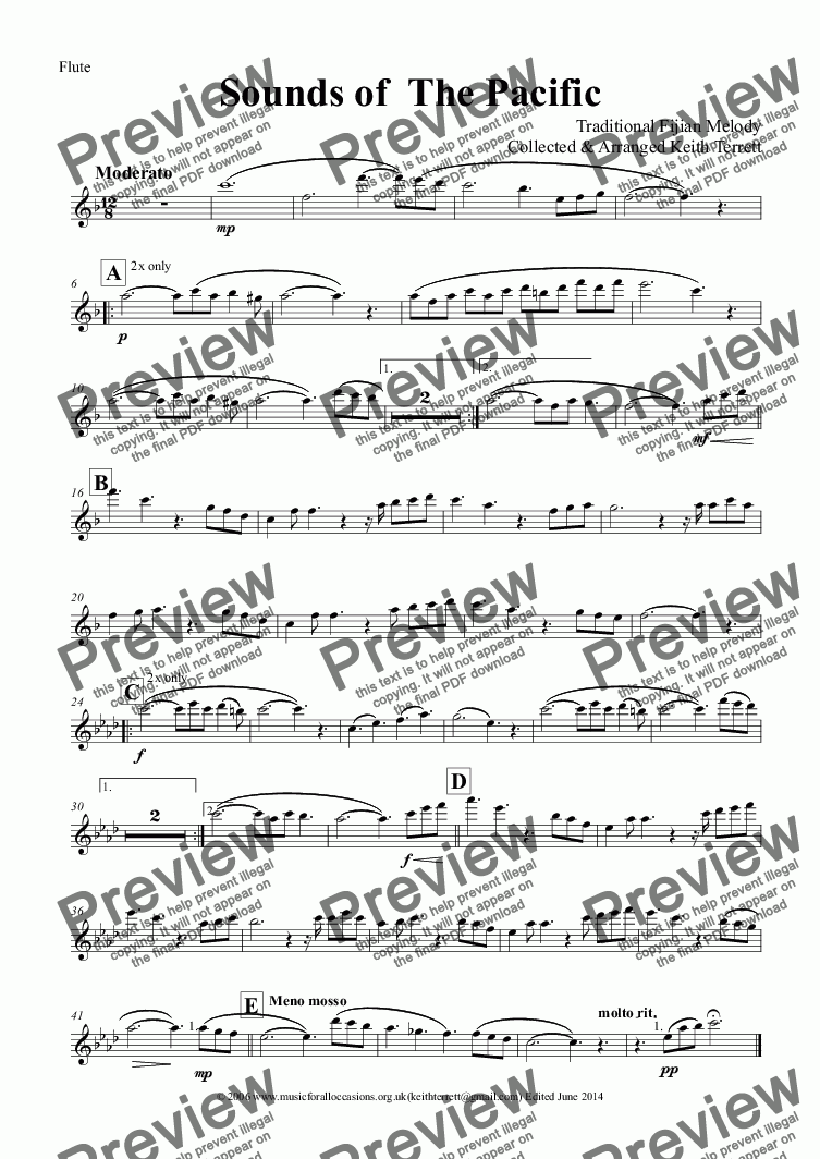 page one of the Flute part from Sounds of the Pacific (Tagi Voli) for  Concert  Band