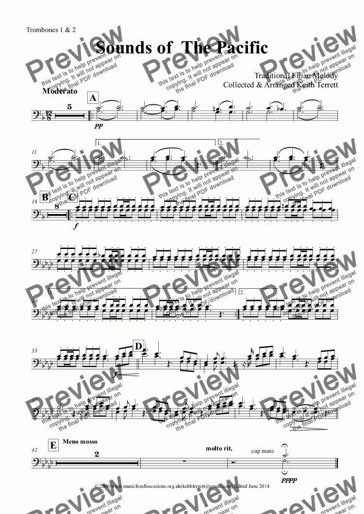 page one of the Trombones 1 & 2 part from Sounds of the Pacific (Tagi Voli) for  Concert  Band