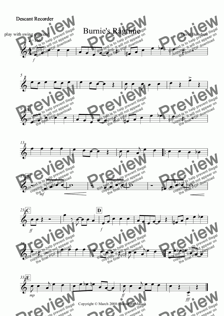 page one of the Descant Recorder part from Burnie's Ragtime for Recorder Quartet