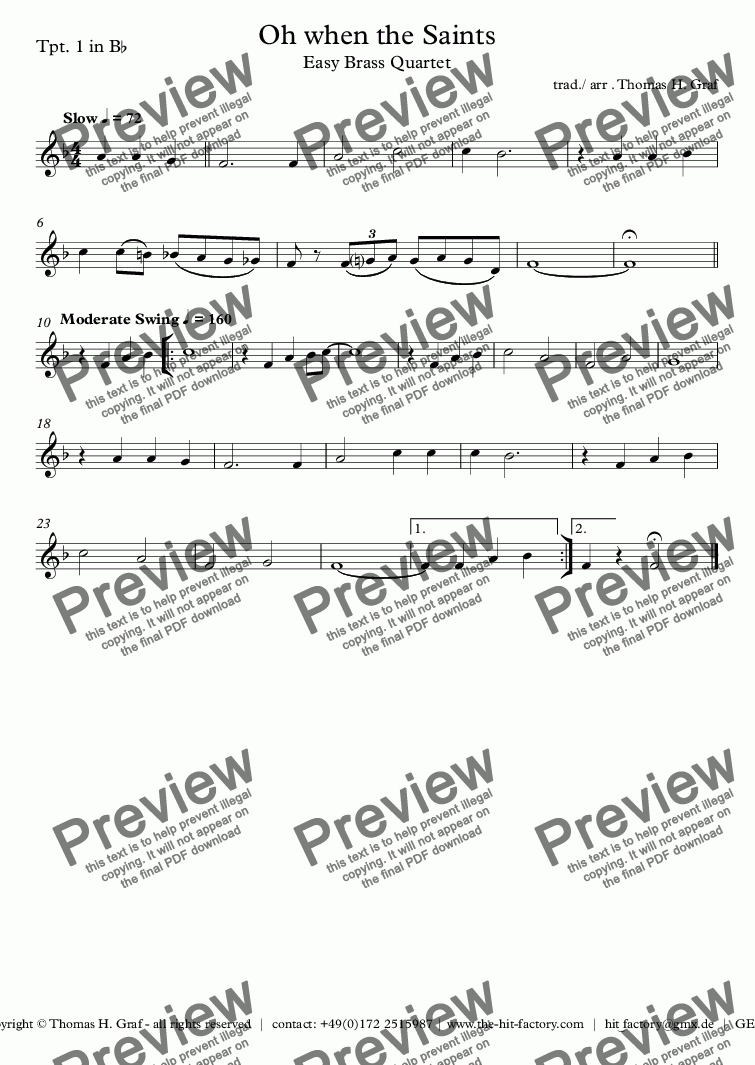 page one of the Tpt. 1 in B^b part from Oh when the Saints - Easy Brass Quartet