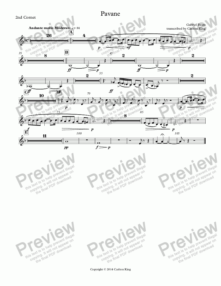 page one of the 2nd Cornet part from Pavane