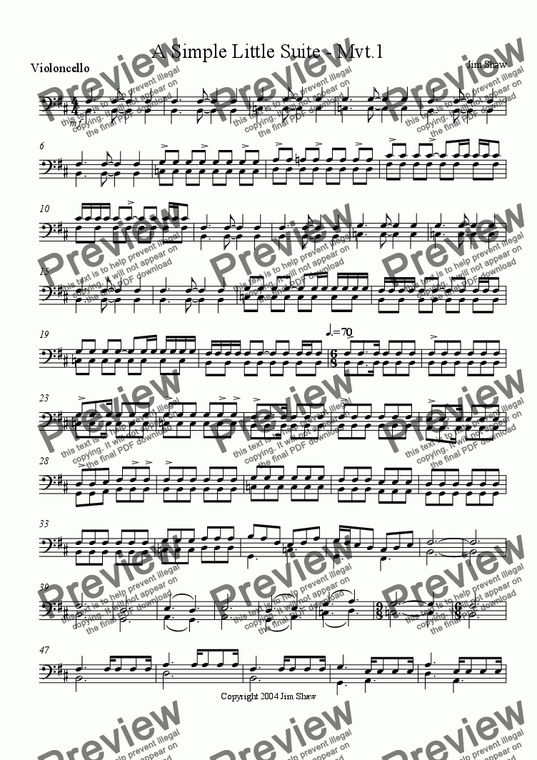 page one of the Cello part from A Simple Little Siute - Mvt.1