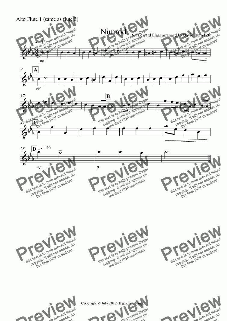 page one of the Alto Flute 1 (same as flute 3) part from Nimrod (from the Enigma Variations) for Flute Quartet