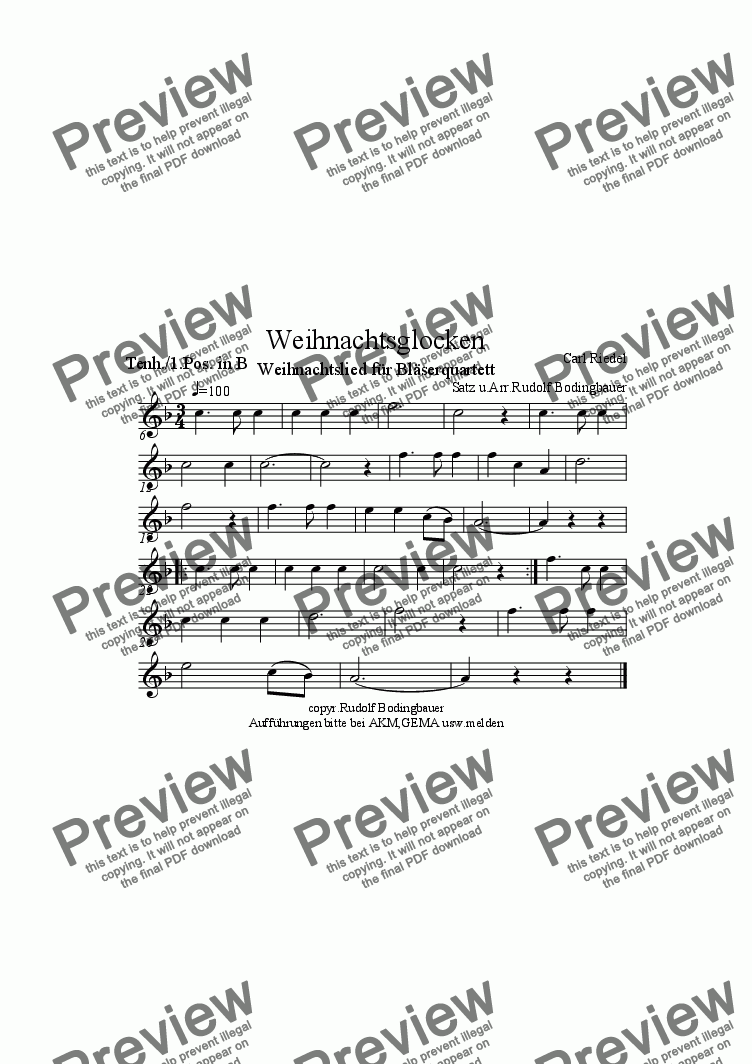 page one of the Tenorhorn/1.Posaune in B part from Weihnachtsglocken  Bl�serquartett