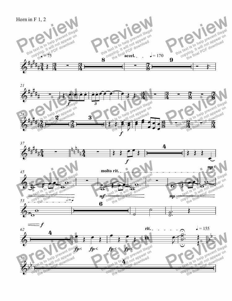 page one of the Horn in F 1, 2 part from untitled