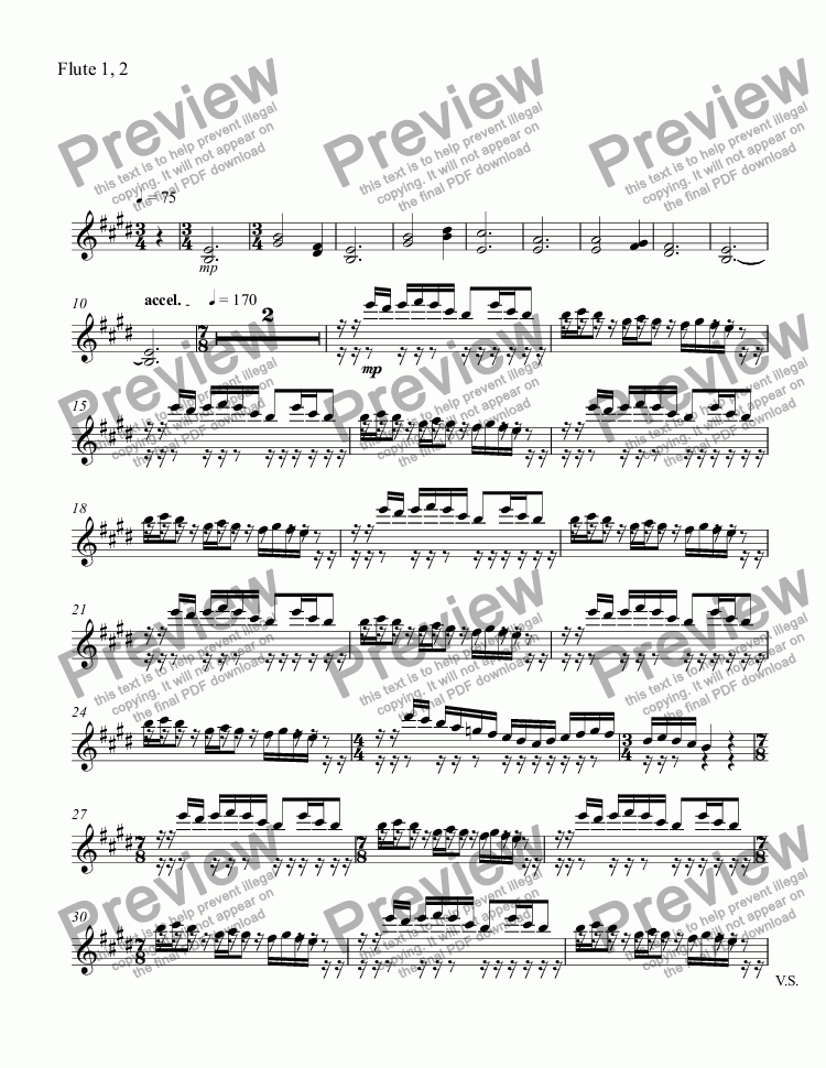 page one of the Flute 1, 2 part from untitled