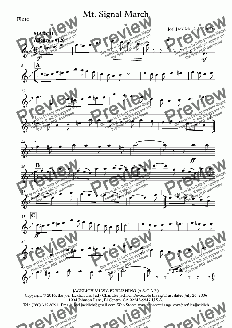 page one of the Flute part from Mt. Signal March (Band)
