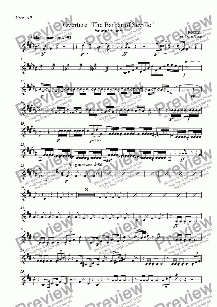 page one of the Horn in F part from Overture, Barber of Seville