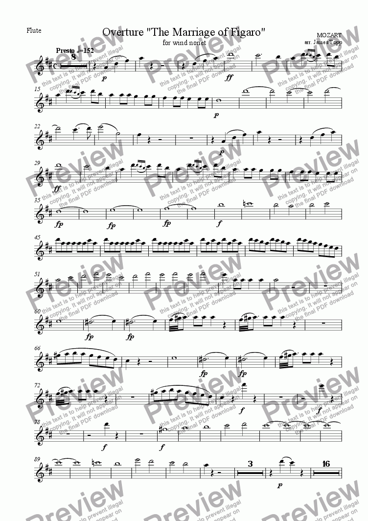 page one of the Flute part from Overture, The Marriage of Figaro (for wind nonet)