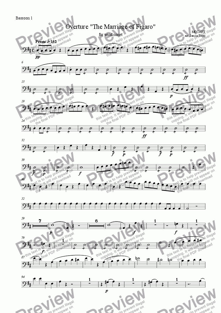 page one of the Bassoon 1 part from Overture, The Marriage of Figaro (for wind nonet)