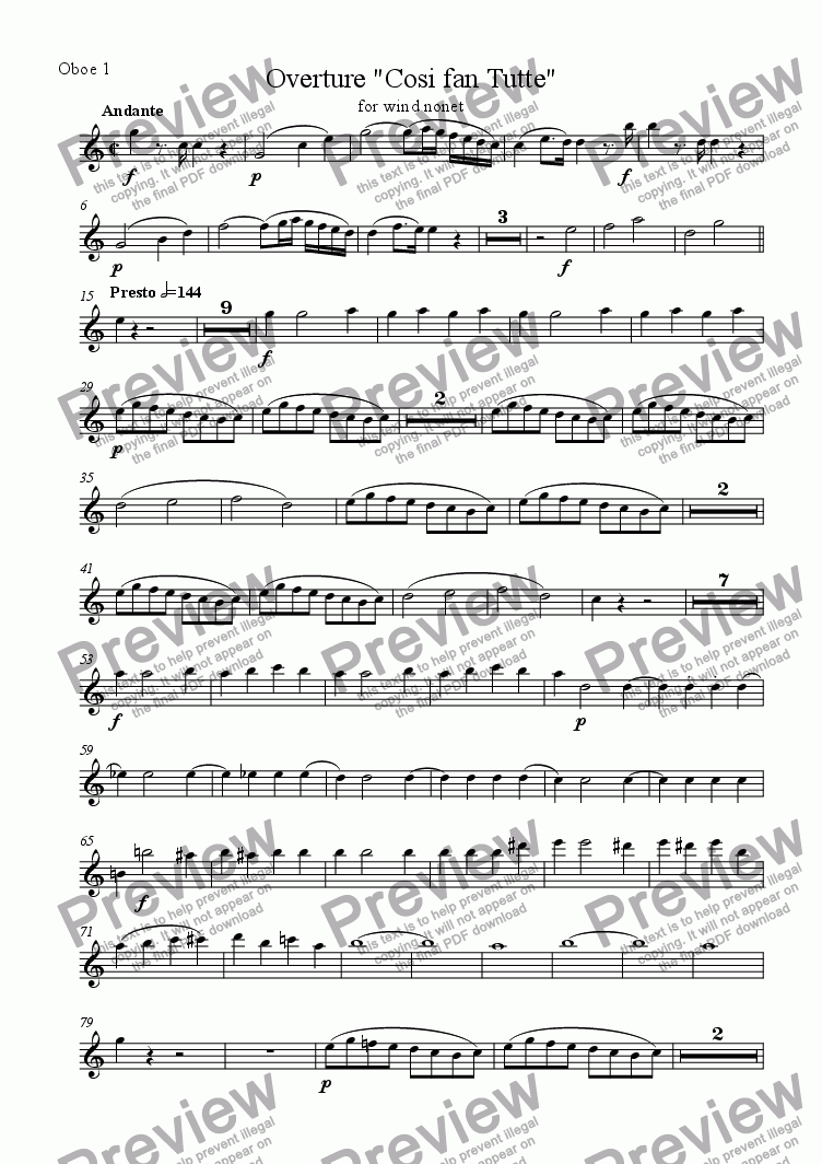 page one of the Oboe 1 part from Overture, Cosi fan Tutte (for wind nonet)
