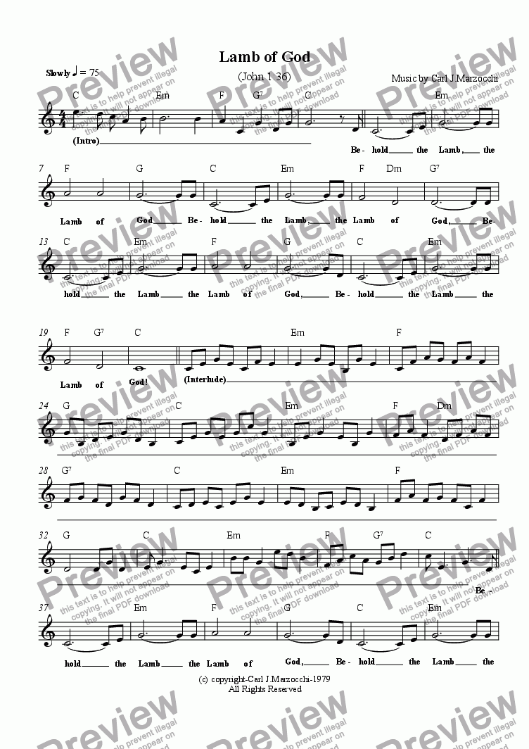 page one of the Guitar/Vocal Lead Sheet part from Lamb of God