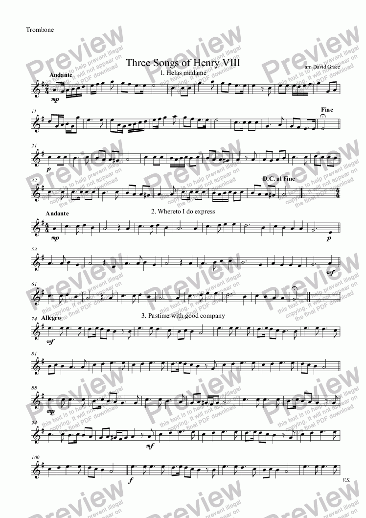 page one of the Trombone part from Three Songs of Henry VIII