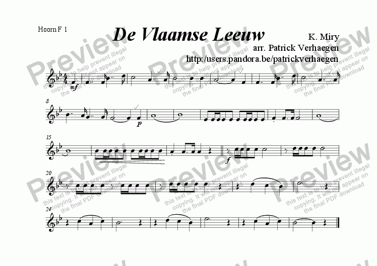 page one of the hoorn F 1 part from Vlaamse Leeuw (for fanfare band)