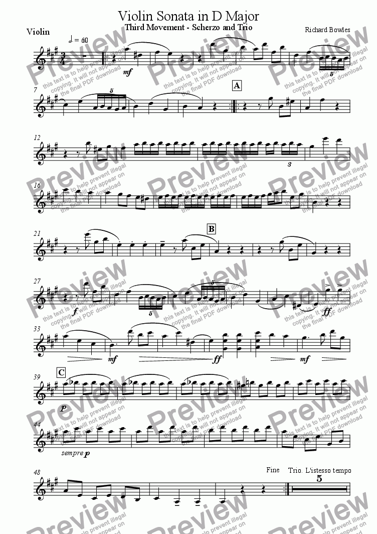 page one of the Violin part from Violin Sonata in D Major, Third Movement