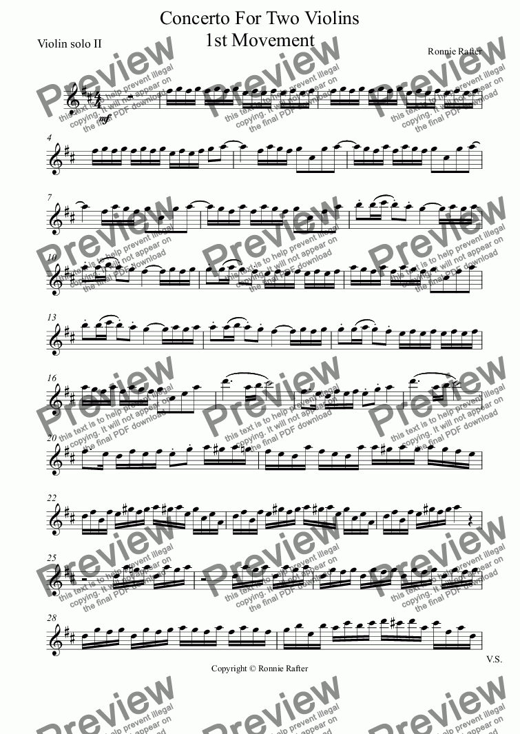 page one of the Violin solo II part from Concerto for Two Violins 1st Movement