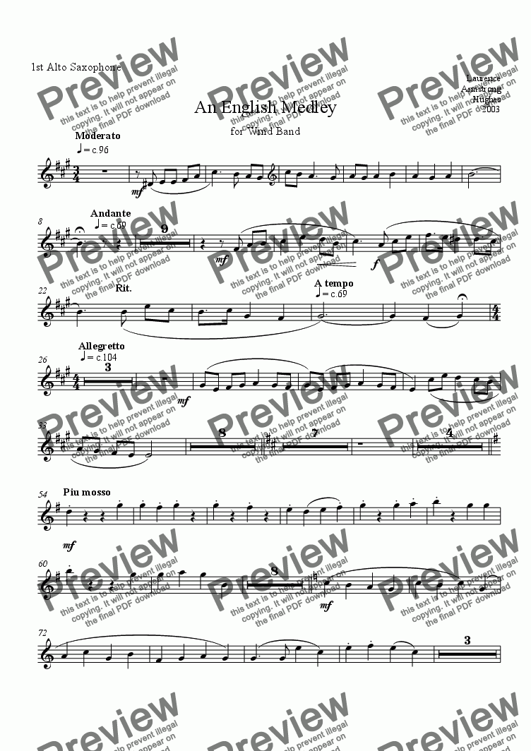 page one of the 1st Alto Sax. part from An English Medley for Band