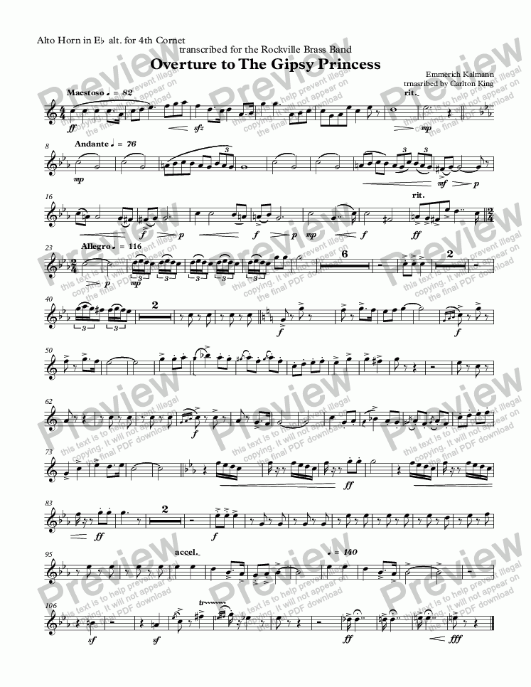 page one of the Alto Horn in Eb alt. for 4th Cornet part from Overture to The Gipsy Princess  (10-piece)