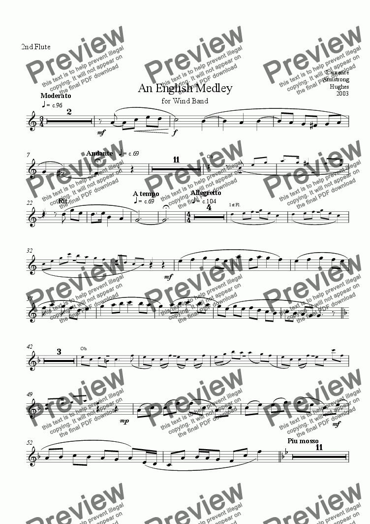 page one of the 2nd Flute part from An English Medley for Band