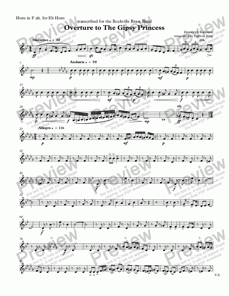 page one of the Horn in F alt. for Eb Horn part from Overture to The Gipsy Princess  (10-piece)