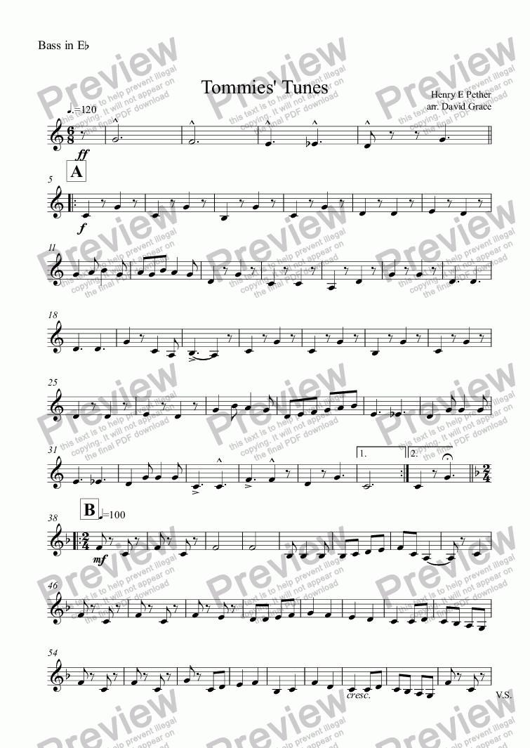 page one of the Bass in E^b part from Tommies' Tunes 1914-18