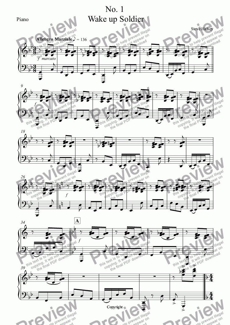 page one of the Piano part from WW1 Centenary  Five Trench Songs  No. 1  Wake up Soldier