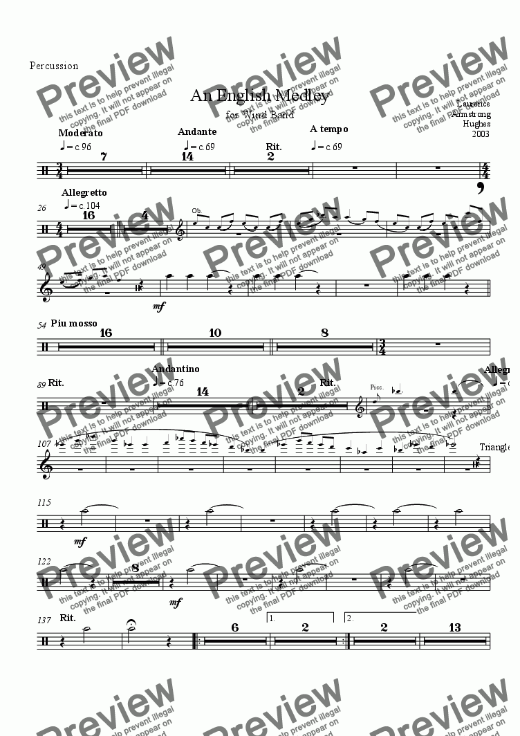 page one of the Percussion part from An English Medley for Band