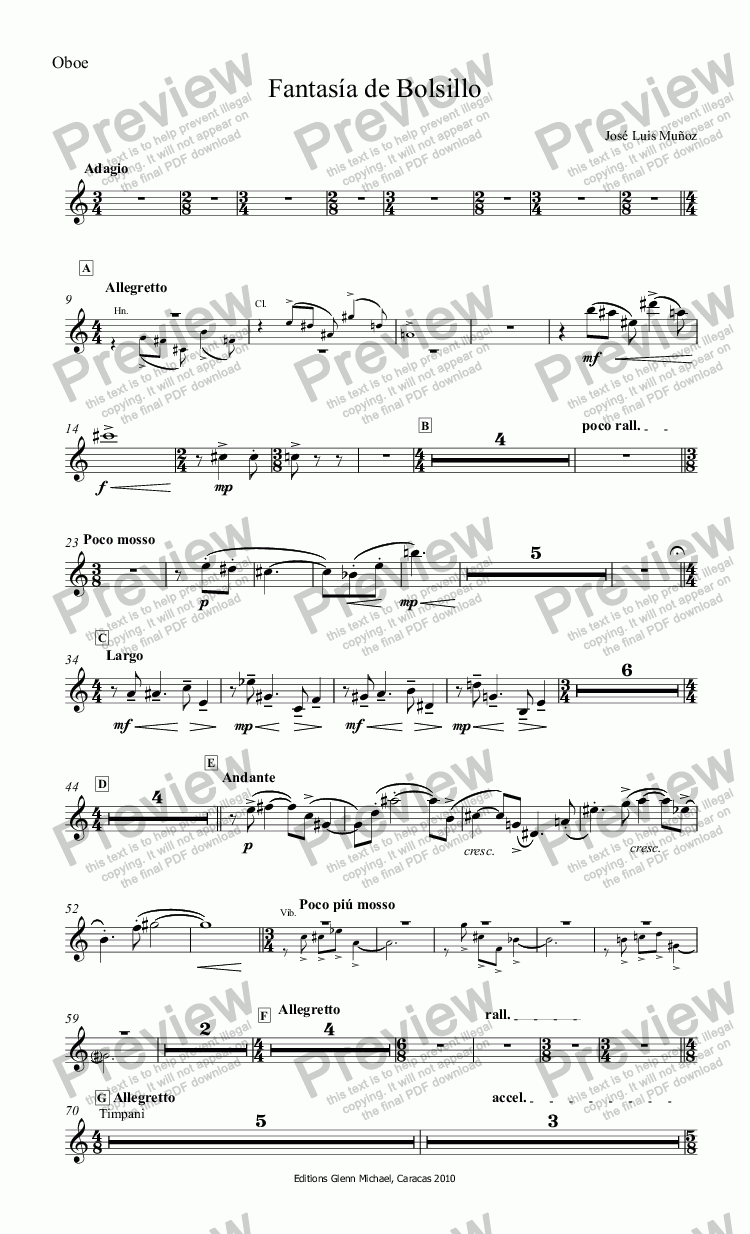 page one of the Oboe part from Fantasía de Bolsillo
