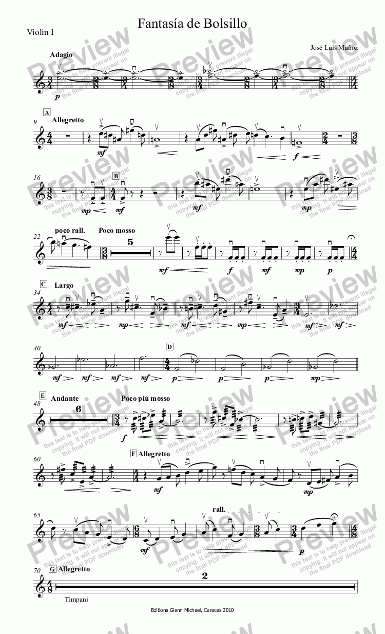 page one of the Violin I part from Fantasía de Bolsillo