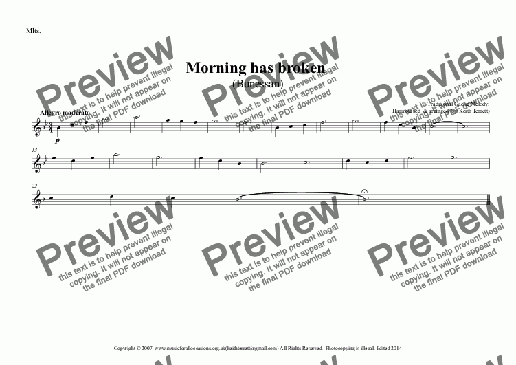 page one of the Mlts. part from Morning has Broken (Bunessan) for Young Concert Band