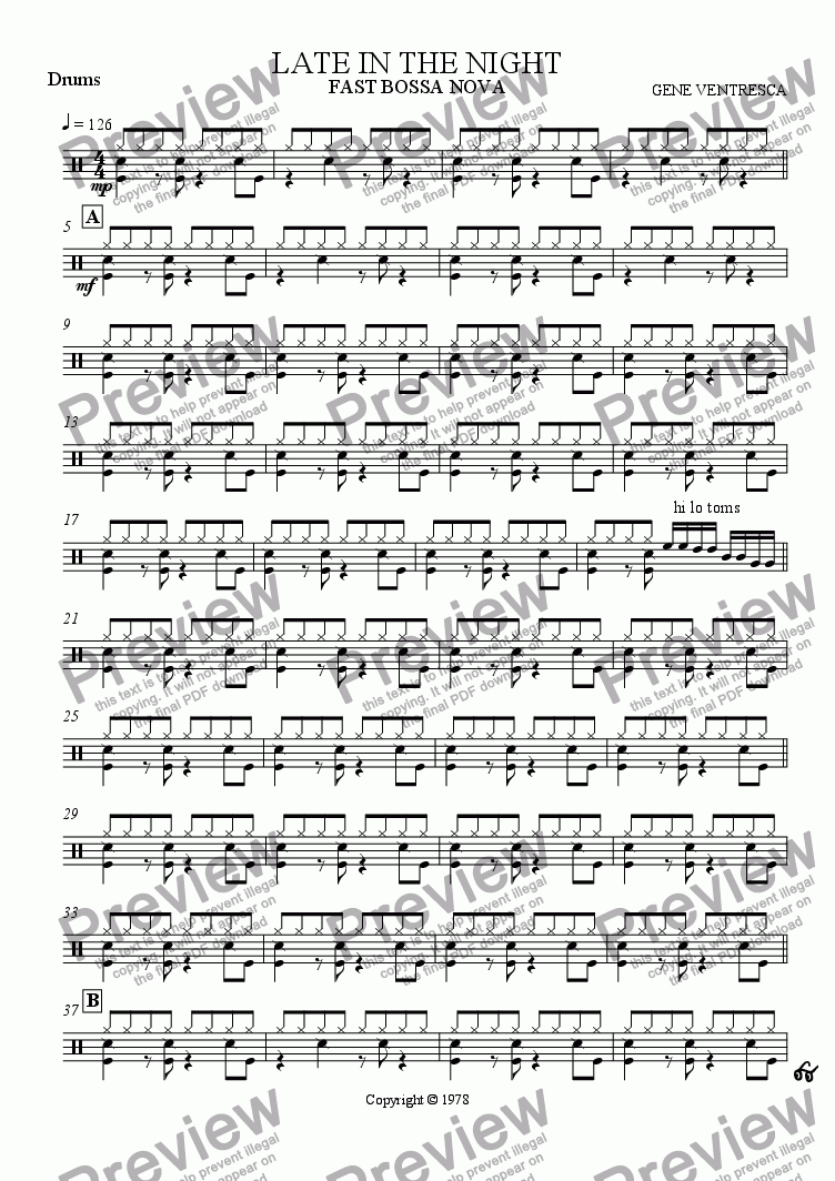page one of the drums part from Late in the Night