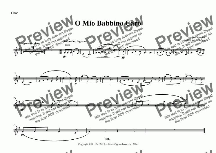 page one of the Oboe part from O Mio Babbino Caro for Oboe & Piano