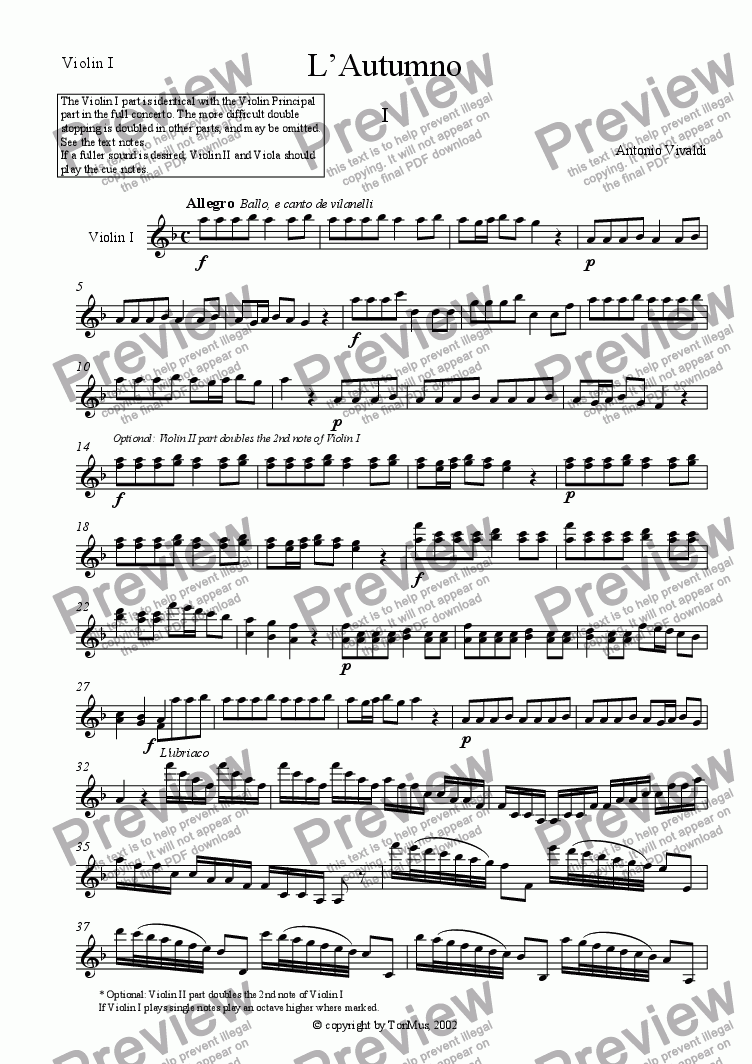 "page one of the Violin I part from Vivaldi: ""Autumn"""