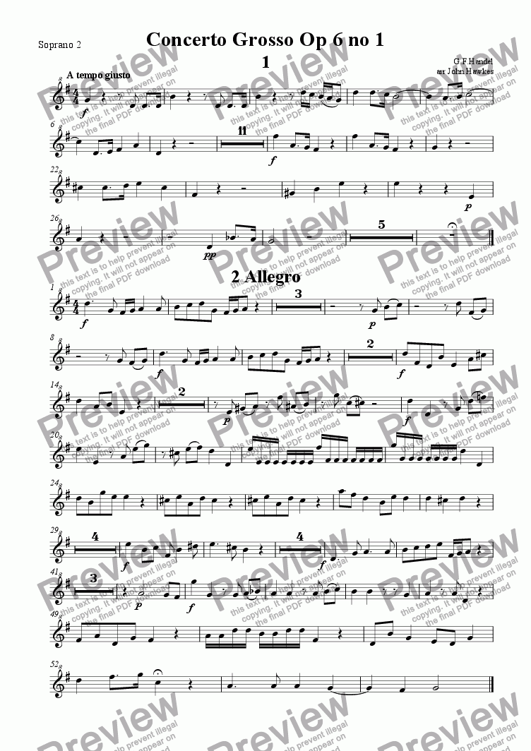 page one of the Soprano 2 part from Handel: Concerto Grosso op 6 no1