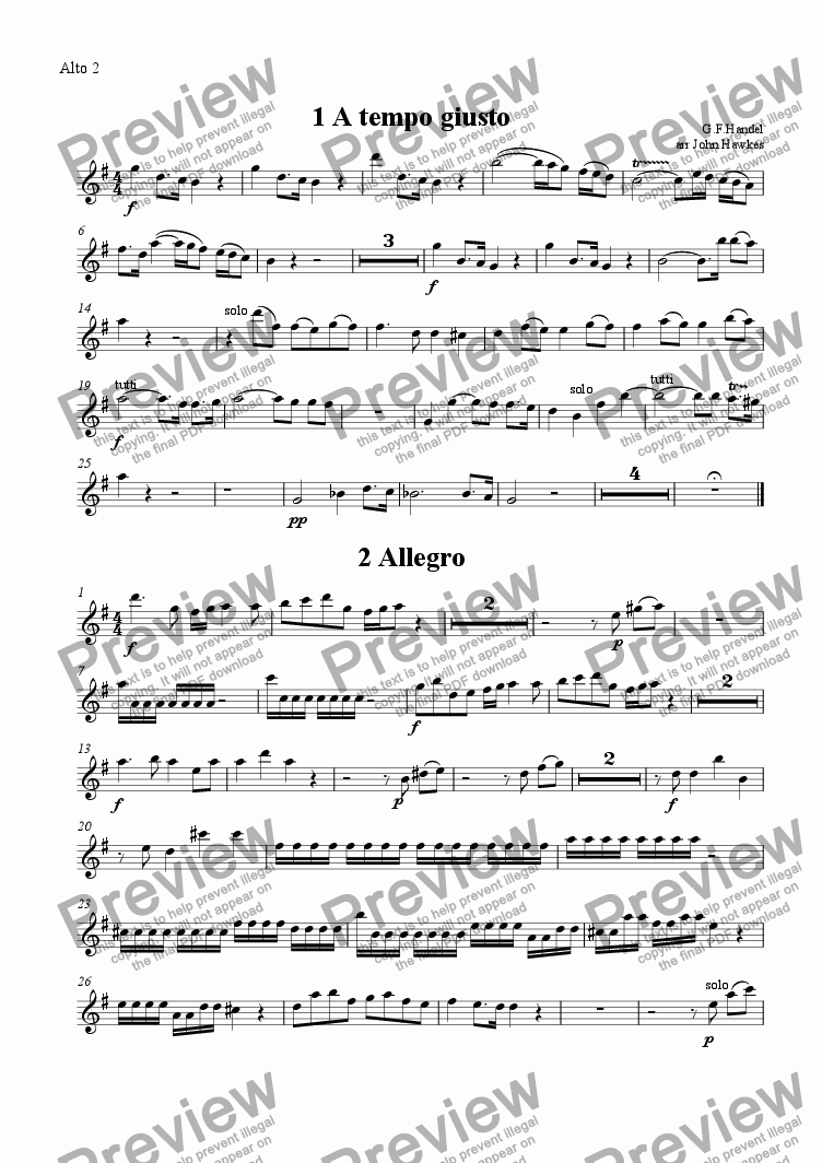 page one of the Alto 2 part from Handel: Concerto Grosso op 6 no1