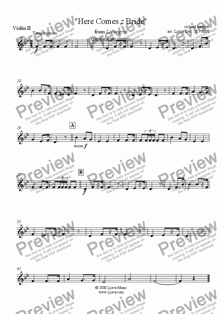 "page one of the Violin II part from ""Bridal Chorus"" from ""Lohengrin"" (i.e. ""Here Comes The Bride"")"