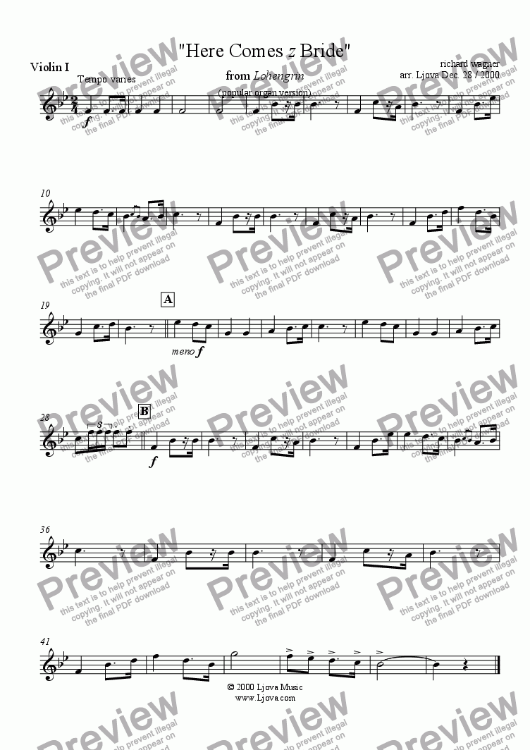"page one of the Violin I part from ""Bridal Chorus"" from ""Lohengrin"" (i.e. ""Here Comes The Bride"")"