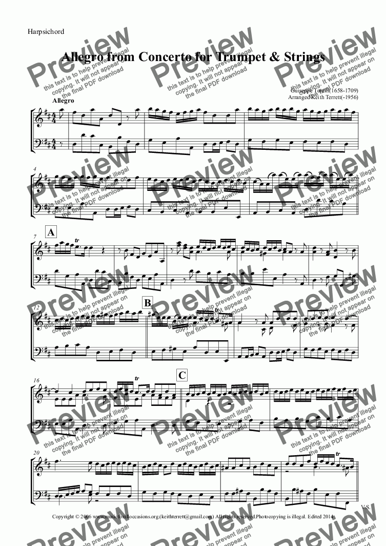 page one of the Harpsichord part from Allegro from the Trumpet Concerto in D arr. for Violin &  Keyboard