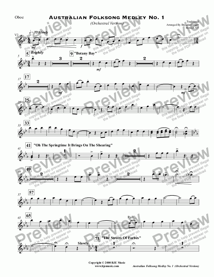 page one of the Oboe part from Australian Folksong Medley No. 1 - Orchestral Version
