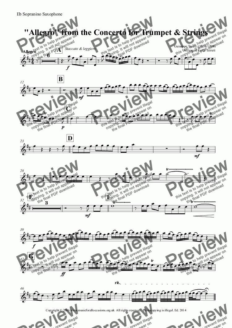 page one of the Eb Sopranino Saxophone part from Allegro from the Trumpet Concerto arr. for Eb Sopranini Saxophone & Keyboard