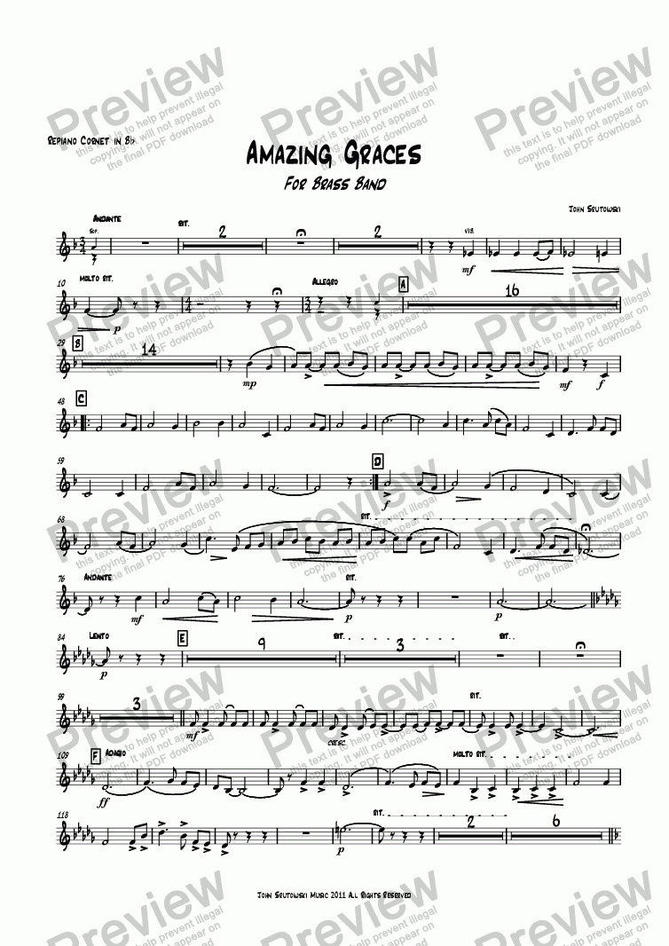 page one of the Repiano Cornet in Bb part from Amazing Graces