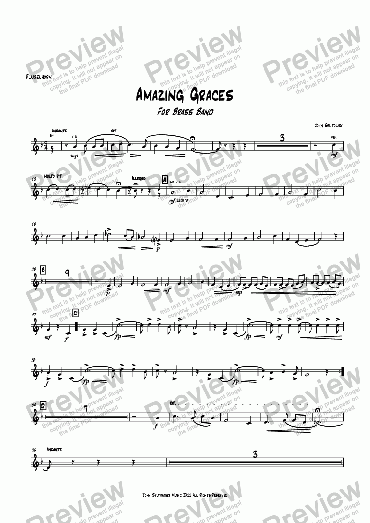 page one of the Flugelhorn part from Amazing Graces
