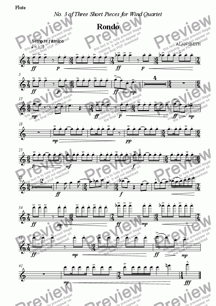 page one of the Flute part from Three Short Pieces for Wind Quartet - No.3 Rondo