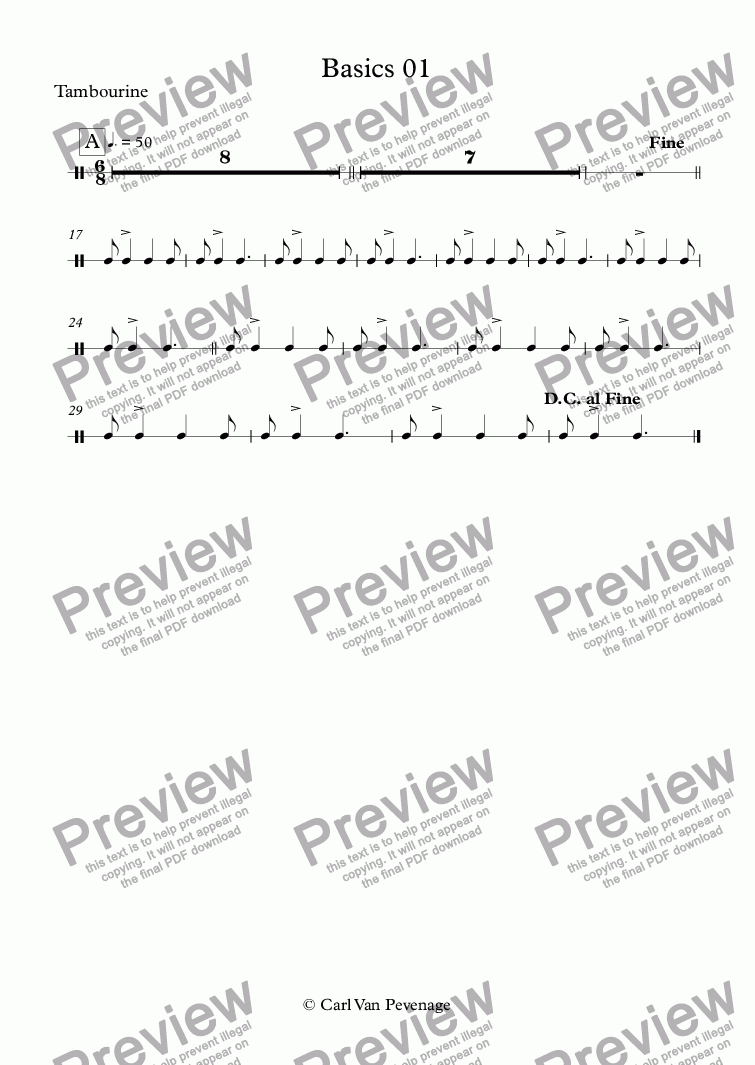 page one of the Tambourine part from Basics 01 - Orff Ensemble
