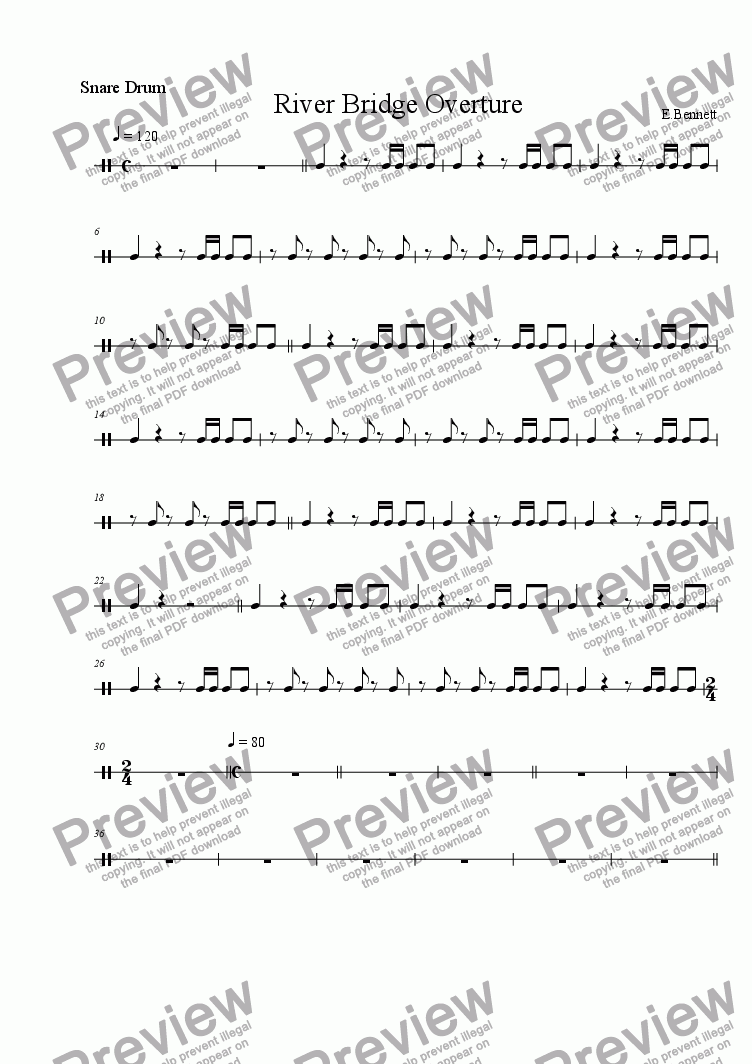 page one of the Snare part from RIVER BRIDGE OVERTURE