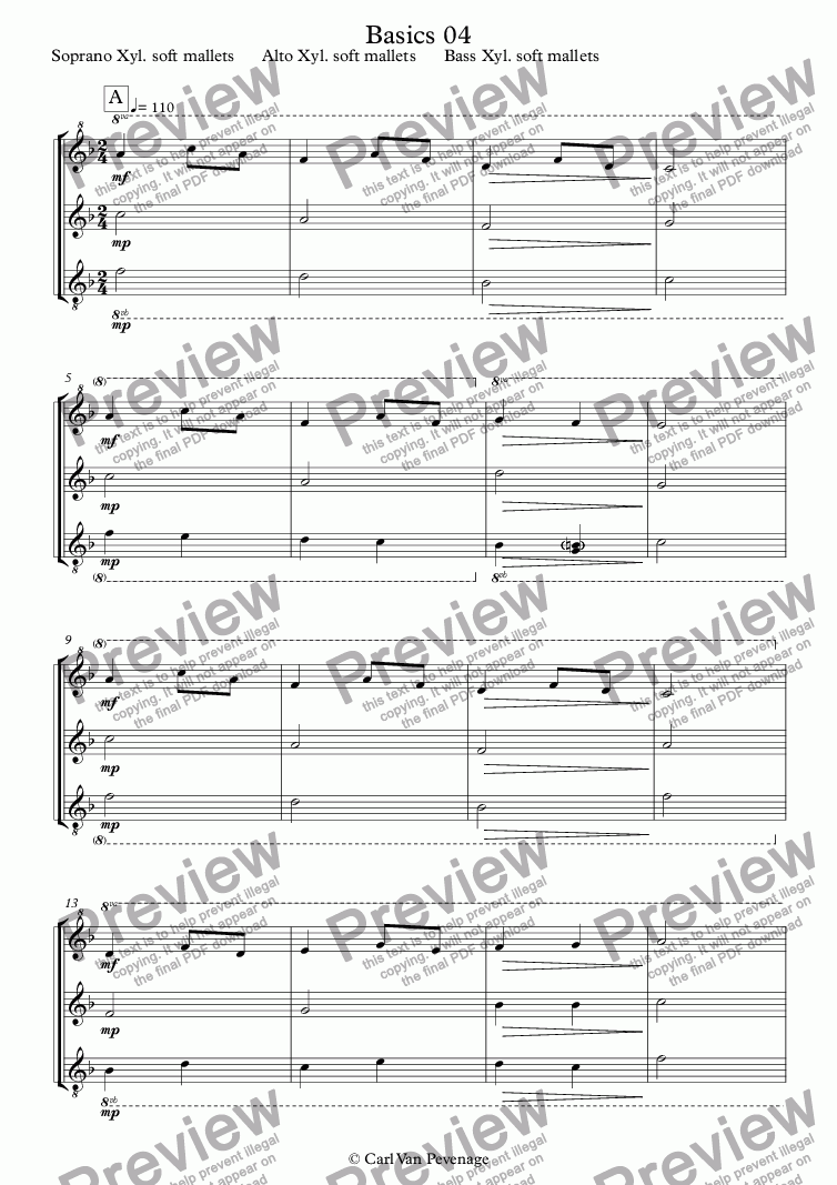 page one of the Soprano Xyl. soft mallets      Alto Xyl. soft mallets      Bass Xyl. soft mallets part from Basics 04 - Orff Ensemble